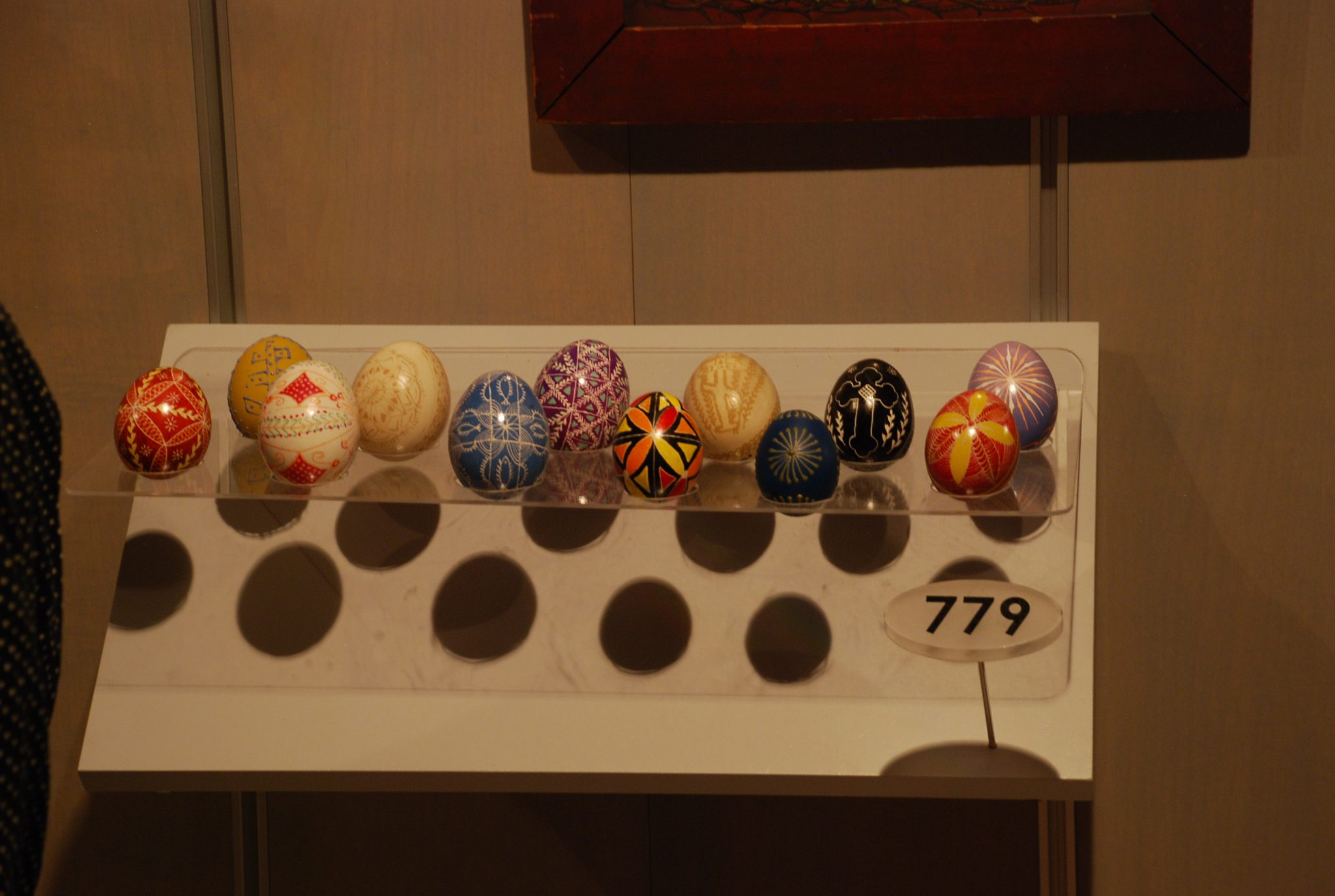 Pysanky eggs on display in the Carpatho Rusyn section of the Special Collections Gallery.