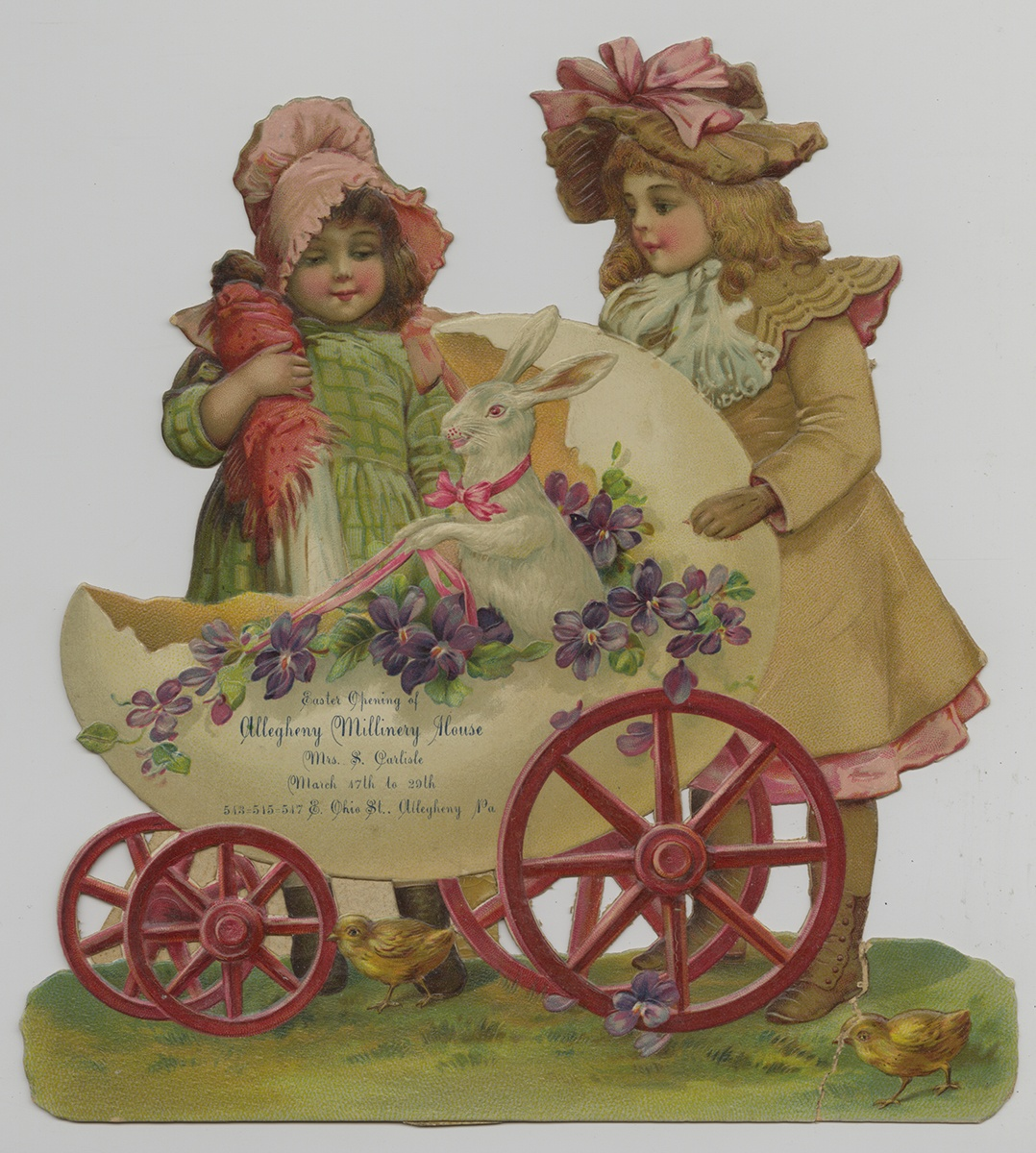 Easter advertising card from the Allegheny Millinery House, c. 1903.