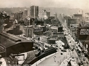 Looking from the roof of the PRR Station to the intersection of New Grant and Liberty, June 1906.
