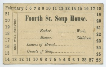 Fourth Street soup house ticket, 1855. MFF 2618, Detre Library & Archives at the History Center.