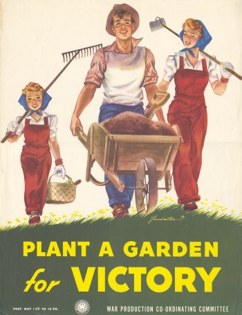 """""""Plant a Garden for Victory."""" World War II poster by J. Howard Miller, for the Westinghouse War Production Co-Ordinating Committee, probably 1942."""