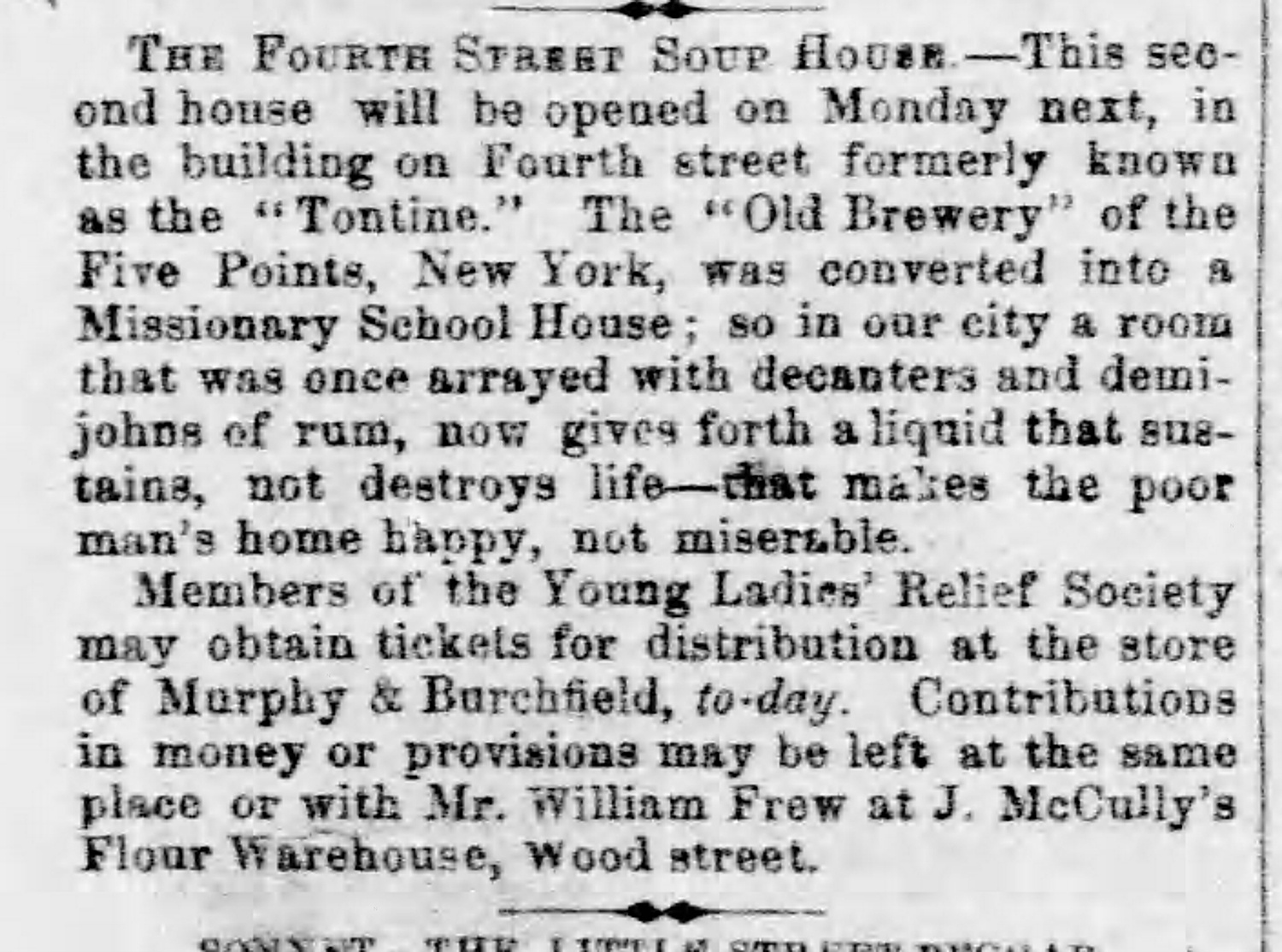 Announcement of the opening of the Fourth Street soup house. The Daily Pittsburgh Gazette, February 2, 1855.