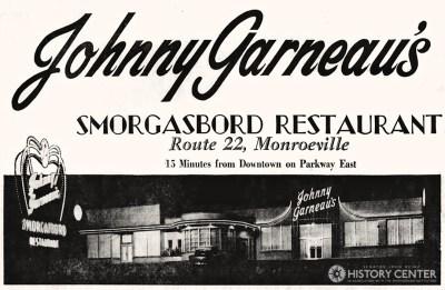 Opening ad for Johnny Garneau's Smorgasbord in Monroeville. Pittsburgh Press, Nov. 7, 1958.