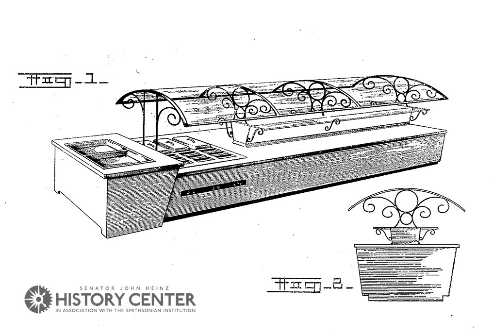 Patent drawing for Garneau's sneeze guard table. Courtesy of the U.S. Patent Office.