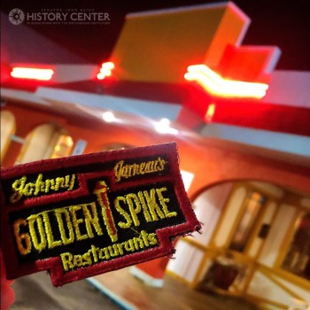 """Johnny Garneau's Golden Spike near the Pleasant Hills Cloverleaf was replaced by Tiffany Place, then Panda Palace, and now Old Mexico, where a """"Golden Spike"""" floor inlay can still be found under the entryway carpet (the outside is seen here with an old employee uniform patch). Photo by Brian Butko."""