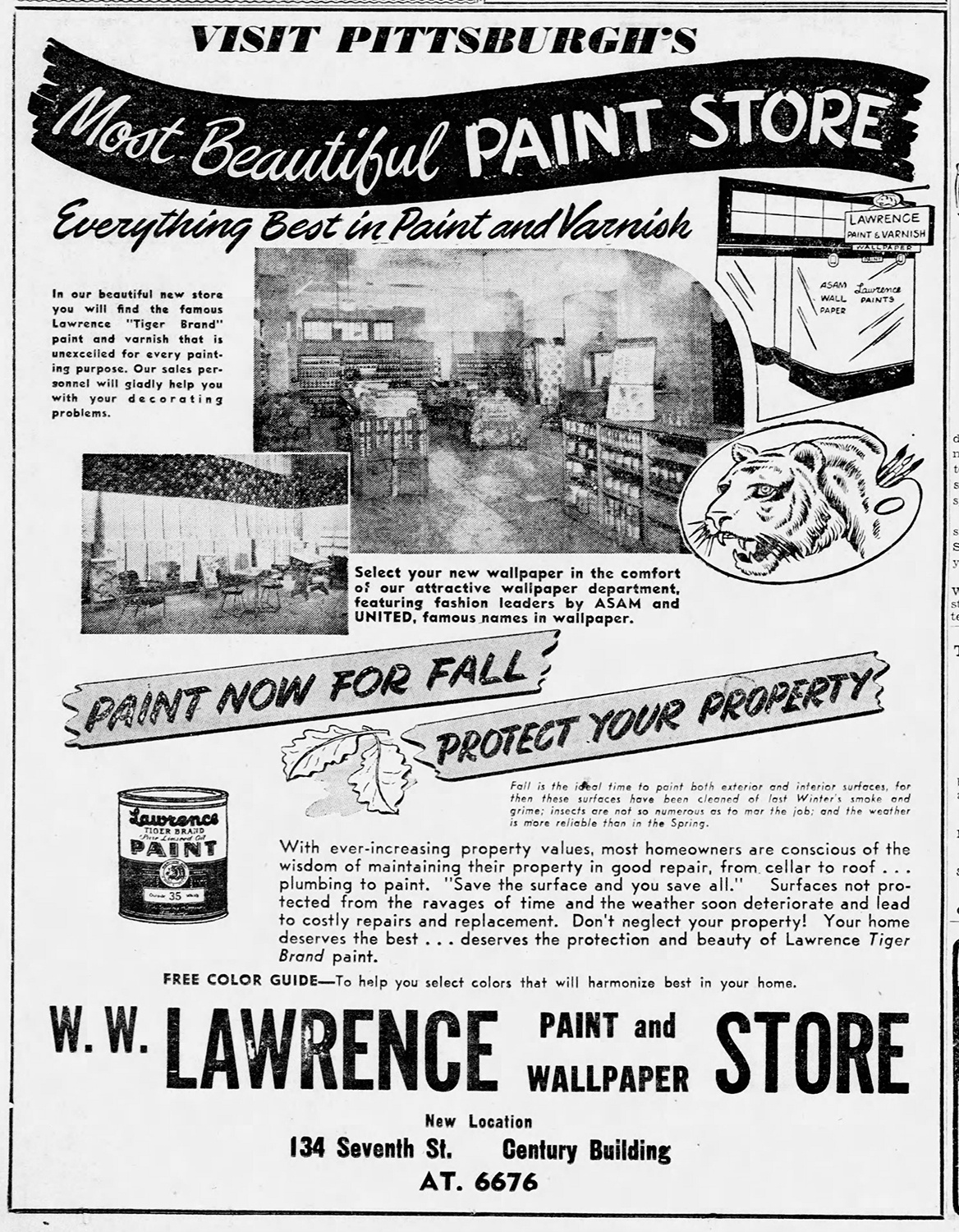 Advertisement with interior views of the W.W. Lawrence paint and wallpaper store that was located downtown in the Century Building. The Pittsburgh Press, September 21, 1947.