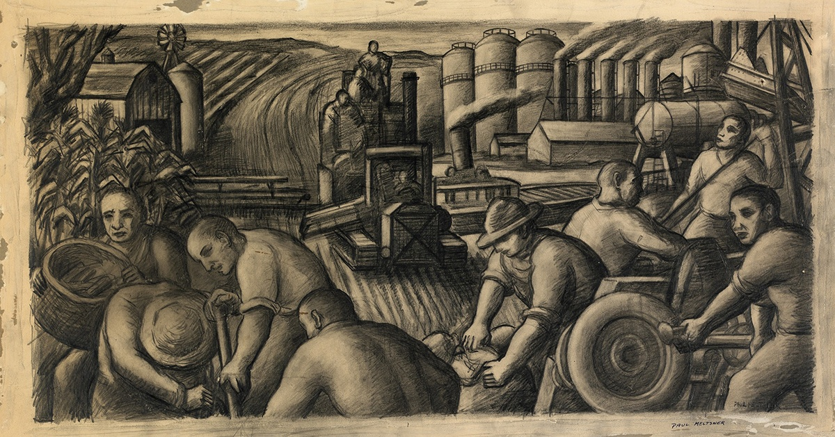 Paul Meltsner, Ohio (Study for the Belleville, Ohio Post Office), pencil on paperboard, ca. 1934-1939. Courtesy of the Smithsonian American Art Museum.