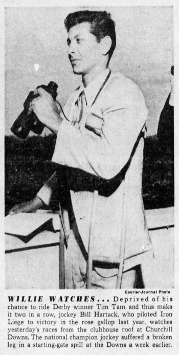 """Willie Watches."" Bill Hartack views the Kentucky Derby from the roof of Churchill Downs. From The Courier Journal Sun (Louisville, KY), May 4, 1958."