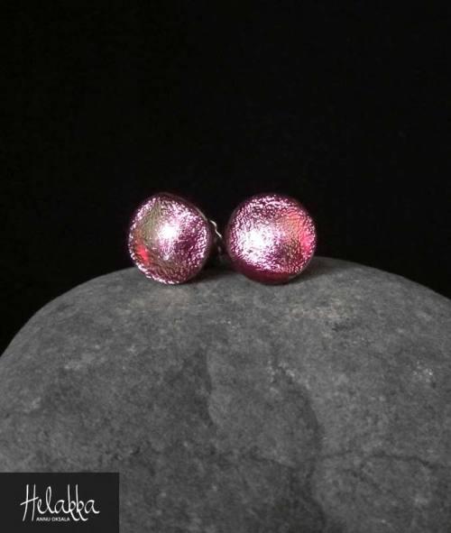 teräskorvakorut lasista Helakka Pinkkipunainen