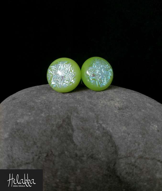 teräskorvakorut lasista Helakka vihreäsininen