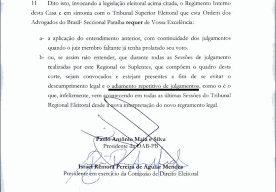 OAB requerimento pede celeridade ao TRE 27jun2016 03