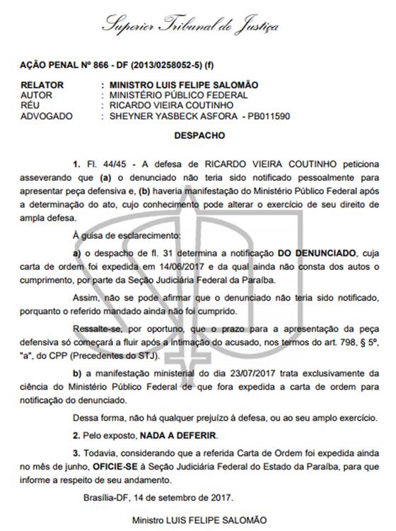 STJ denuncia ação penal contra RC andamento 14set2017