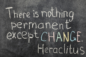 famous Ancient Greek philosopher Heraclitus quote about change on blackboard
