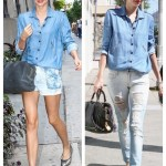 Double Denim: Chambray Shirt & Chic Flats