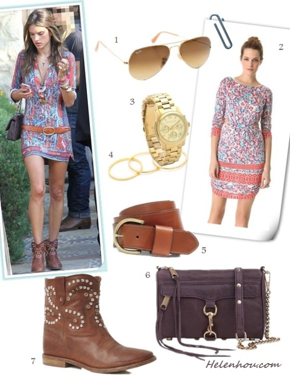how to wear prints, summer festival outfit ideas, what to wear on vacation; Alessandra Ambrosio, street style, ankle boots, printed dress, brown belt, fringe bag, On Alessandra Ambrosio: Isabel Marant printed dress,   Isabel Marant Elia Braid Belt in Cognac, Chanel bag,   Jacquie Aiche nacklace,  Ray Ban aviator sunglasses,   Isabel Marant The Caleen studded leather concealed wedge   boot;  Alternative:  1. Ray-Ban Matte Classic Aviator Sunglasses,  2. Pencey Standard Open Back Dress,  3. Michael Kors Sport Watch,  4. gorjanaG Ring Set,  5. Madewell Perfect Leather Belt,  6. Rebecca Minkoff Mini MAC Bag,  7. Isabel Marant The Caleen studded leather concealed wedge boot,
