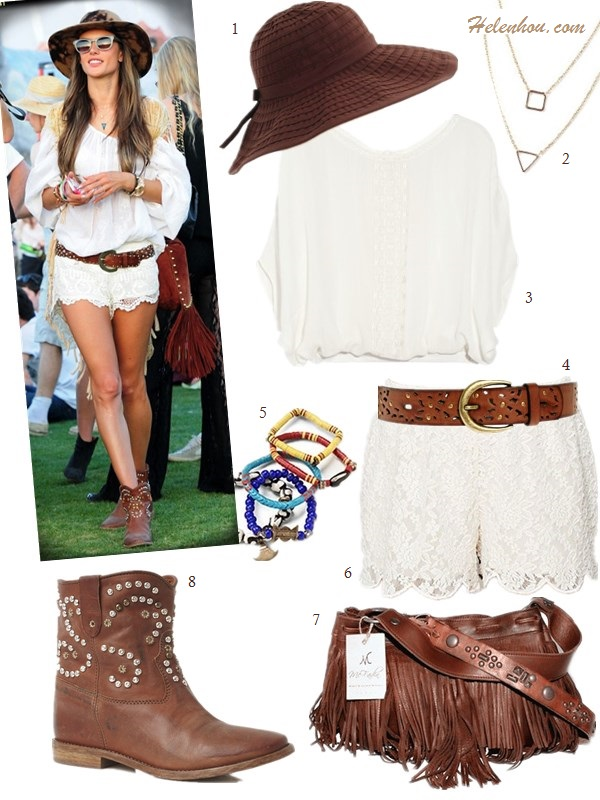 how to wear lace shorts; How to Wear White; festival   outfit ideas;  Nikki Phillips, Alessandra Ambrosio, Kate Bosworth,   coachella 2013, white lace shorts, embroidered top,   embellished tank, ankle boots, aviator sunglasses;  On Alessandra Ambrosio at coachella 2013: white   embroidered top and shorts, Isabel Marant studded boot,   brown hat, brown belt, suede fringe bag; Alternatives:  1. San Diego white sun Hat,  2. URBAN OUTFITTER SGeo High/Low geometric Necklace,  3. CHELSEA FLOWER Embroidered silk tunic top,  4. PIECES Galaxy brown studded Belt,  5. Lacey Ryan Wappo Bracelet Set,  6. FREE PEOPLE Scalloped Lace Skort,  7. McFadin Handbags Womens McFadin Fringe Bag,  8. Isabel Marant The Caleen studded leather concealed wedge boot,