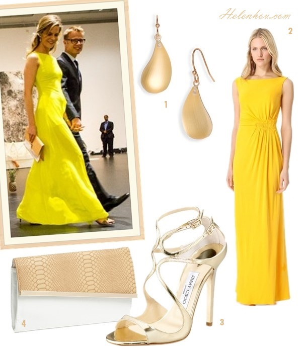 how to wear yellow dress; Featured: Dawn and Jae Goodman,   Miranda Kerr, Mena Suvari, Olivia Palermo, Jessica Stam,   Olivia Palermo; On Dawn and Jae Goodman: yellow maxi dress/gown,   colorblock clutch, drop earrings, metallic heel sandals,  Alternatives:  1. 'Lucite® - Dust' Long Raindrop Earrings,  2. ISSAV Back Gown,  3. Jimmy Choo Lance Mirrored Metallic Leather Sandals,  4. Expressions NYC snake Embossed Faux Leather Clutch,