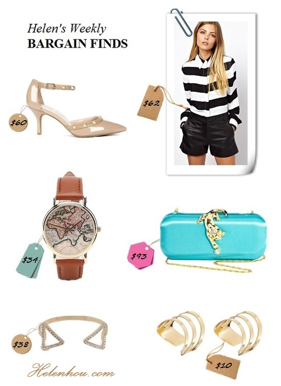 Clockwise from top left:  SoleSociety Anneke studded nude pump,  ASOS Shirt In Mono Stripe,  Talullah Tu Lyla Panther Box Clutch Bag,  ASOS Adjustable Midi Bar Ring Pack,  BaubleBar Gold Open Triad Cuff,  Urban Outfitters (US)Around The World Leather Watch