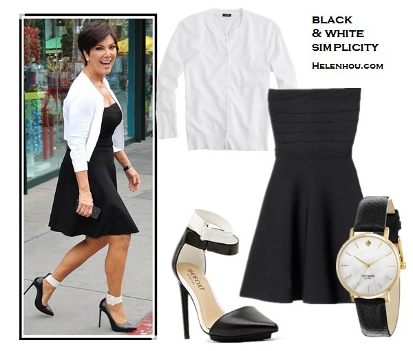 how to wear black and white; how to wear ankle strap shoes;  Kris Jenner, striped dress, black cardigan, red valentino pump, red valentino studded clutch, black dress, white cardigan, colorblock ankle strap pump,   alternatives:  REBECCA TAYLORStrapless Dress, NastyGalFaye Platform Pump - Colorblock,  J.Crew Jackie cardigan,  'Kate Spade New York metro' round leather strap watch