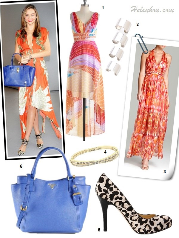 how to wear a floral print dress, how to wear leopard print, Miranda Kerr, airport style.  On Miranda Kerr: Bionda Castana leopard print shoes, Wes gordon orange print dress with asymmetrical hem, Samantha Thavasa blue leather bag,  Swarovski jewlery. Alternatives: 1. ModCloth Sunrise Over the Sea orange printed maxi Dress,  2. Maison Martin Margiela 4 Finger Rings,  3. Laundry by Shelli Segal Pleated Dress,  4. Swarovski Hinged Crossed Band Bangle,  5.  Ivanka Trump leopard print pump,   6. Prada Daino Side-Pocket Tote Bag,
