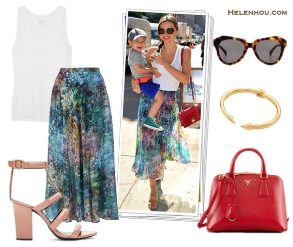 The art of accessorizing-Miranda Kerr, street style, topshop Floral Maxi Skirt, Miu Miu Sunglasses,red crossbody bag