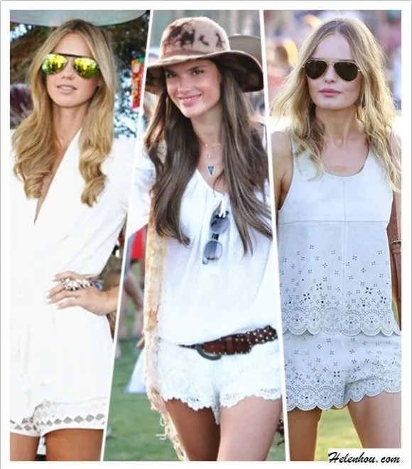 how to wear lace shorts; How to Wear White; festival   outfit ideas;  Nikki Phillips, Alessandra Ambrosio, Kate Bosworth,   coachella 2013, white lace shorts, embroidered top,   embellished tank, ankle boots, aviator sunglasses;  On Nikki Phillips: Alice McCall white top, Tony Bianco   mirror aviator Sunglasses, white eyelet shorts, Knuckle   Ring;  On Alessandra Ambrosio at coachella 2013: white   embroidered top and shorts, Isabel Marant studded boot,   brown hat, brown belt, suede fringe bag;  On Kate Bosworth at coachella 2013: topshop suede   Scalloped tank and shorts, ankle boots, brown crossbody   bag, avator sunglasses, gold bracelet.