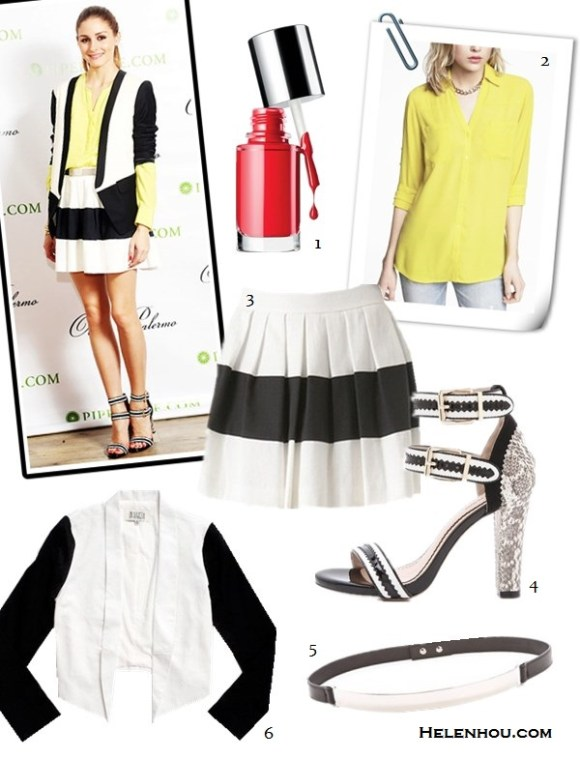 how to wear yellow dress; Featured: Dawn and Jae Goodman,   Miranda Kerr, Mena Suvari, Olivia Palermo, Jessica Stam,   Olivia Palermo; On Olivia Palermo: Tinley Road Silk Button Down yellow   Blouse, Tibi Tuxedo black and white Jacket,Pour La   Victoire Veronica shoes,  Rachel Zoe Striped skirt,   Alternatives:  1. Clinique 'A Different Nail Enamel for Sensitive Skin' Nail Color ,  2. Express THE CONVERTIBLE SLEEVE SHIRT,  3. Rachel ZoeRachel Zoe Pleated Skirt,  4. Pour La Victoire ankle strap Sandals, 5. Nicholas Roxanne Silver Plate Belt ,  6. BB Dakota Alton colorblock Cropped Jacket ,