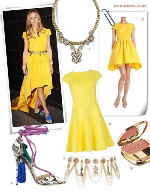 how to wear yellow dress; Featured: Dawn and Jae Goodman,   Miranda Kerr, Mena Suvari, Olivia Palermo, Jessica Stam,   Olivia Palermo; On Olivia Palermo: KATIE ERMILIO Crinoline Dress; Zara   belt, vintage necklace, Jimmy Choo Dream rope-tie elaphe   sandals,Jimmy Choo Embellished Suede & Metal Clutch;   Alternatives:  1. Lulu Frost Sunburst Drape Swarovski crystal necklace,  2. Katie Ermilio crinoline Dress,  3. Ted Baker London Stretch Fit & Flare Dress ,  4. Dolce & Gabbana The Blush Luminous Cheek Colour,  5. River Island Glam Hanging Chain Belt,  6. Jimmy Choo Dream rope-tie elaphe sandals,
