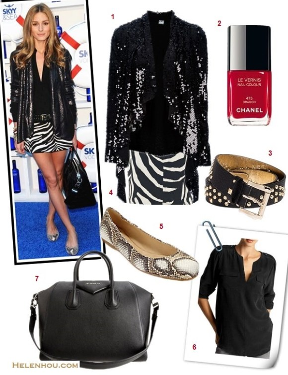 how to wear black and white; how to wear prints, how to wear sequins; how to wear animal prints; Olivia Palermo; party outfit, street style, spring/summer, geo print dress, leopard flats, snakeskin flats,sequin blazer,zebra skirt, red bag, Givenchy Antigona,  On Olivia Palermo: Diane von Furstenberg black sequin jacket,  Stuart Weitzman snake print ballet flat, Zara sebra skirt, Givenchy Antigona bag; Alternatives:  1. 2ND DAYNight Trouble sequin Blazer,  2. Chanel NAIL COLOUR , 3. GUESSThe Studded Belt,  4. STUART WEITZMAN snakeskin ballet flat, 5. Joie Marlo Blouse, 6. Givenchy Medium Antigona Satchel Bag