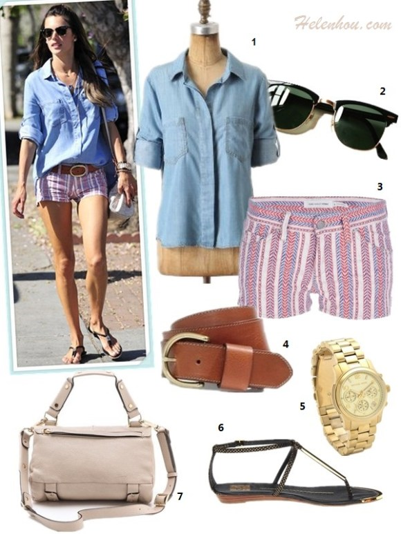 How to wear a chambray/denim shirt; How to wear pleated skirt; summer outfit idea 2013, street style, Olivia Palermo, Alessandra Ambrosio, white skirt, dior blue bag, leopard flats, striped shorts, strappy sandal, mulberry alexa,  On Alessandra Ambrosio: Bella Dahl Split Back chambray shirt, Isabel Marant Elia braided leather belt, Isabel Marant striped Shorts, Mulberry MINI ALEXA bag, DV by Dolce Vita strap sandal, Ray-Ban Clubmaster Sunglasses.     Also featured:  Madewell perfect leather belt,  Michael Kors watch,  Golden Lane Small Duo Satchel