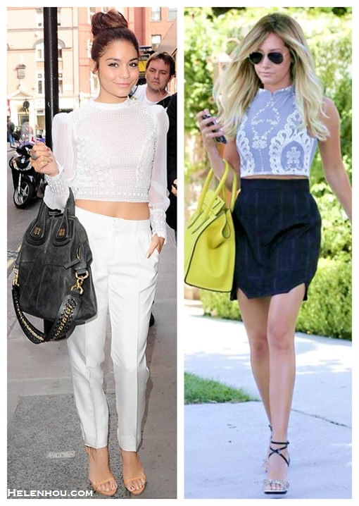 How to wear crop tops, How to wear lace tops; street style, Vanessa Hudgens, Ashley Tisdale, lace crop top, white pants, strap sandal, Givenchy 'Nightingale', black skirt, yellow bag, aviator sunglasses,spring/summer outfit ideas 2013,    On Vanessa Hudgens: Catherine Malandrino white crop top, Catherine Malandrino white high waisted pants,  Giuseppe Zanotti nude strappy sandal, Givenchy 'Nightingale' medium tote;    On Ashley Tisdale: For Love & Lemons Anna crochet embroidered Crop top, Ray-Ban Aviator sunglasses, Christian Louboutin ankle strap sandal, black skirt, yellow Celine bag;