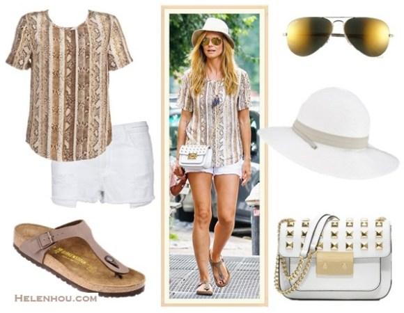 The art of accessorizing-street style,  white denim shorts, Heidi Klum, snake print top, studded bag