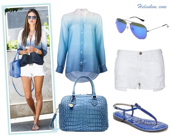 How to wear white shorts, how to wear printed top, summer outfit ideas 2013, street style,   On Alessandra Ambrosio: Black Orchid white denim shorts,  Alice + Olivia Embossed Leather Bag, Two By Vince Camuto Ombre shirt, aviator sunglasses, T strap sandal.  Alternatives: Ray-Ban mirrored 3025 Aviator Original sunglasses,  Dooney & Bourke Amazon Extended Zip Zip Satchel,   Current/Elliott The Boyfriend Shorts,  Sam Edelman blue sandal,  ACNE Pat degrade blouse,