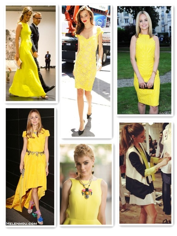 "how to wear yellow dress; Featured: Dawn and Jae Goodman,   Miranda Kerr, Mena Suvari, Olivia Palermo, Jessica Stam,   Olivia Palermo;  On Dawn and Jae Goodman: yellow maxi dress/gown,   colorblock clutch, drop earrings, metallic heel sandals,  On Miranda kerr:  Reem Acra yellow lace dress; Lanvin   pumps;  On Mena Suvari at Versace Atelier Jewelry Cocktail Party :yellow dress, black clutch, gold watch;   On Olivia Palermo: KATIE ERMILIO Crinoline Dress; Zara   belt, vintage necklace, Jimmy Choo Dream rope-tie elaphe   sandals,Jimmy Choo Embellished Suede & Metal Clutch;  On Jessica Stam at 2013 CFDA Fashion Awards: Christian   Louboutin ""Dufoura"" Sandals,Fenton Shinde Eagle Earrings   and necklace,  On Olivia Palermo: Tinley Road Silk Button Down yellow   Blouse, Tibi Tuxedo black and white Jacket,Pour La   Victoire Veronica shoes,  Rachel Zoe Striped skirt,"