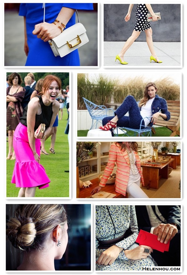 Featured: Kristina Bazan, Shopbop lookbook, Faustine Steinmetz, Aerin Lauder, Teresa Palmer, Teresa Palmer, Angela Scanlon.  blue dress, white bag, polka dot dress, yellow pump, python clutch, pink skirt, red shoes, strap shoes, pearl necklace, spiked jewelry  On Kristina Bazan: Goat Lagoon Blue Lola Library Wool Crepe Shift Dress,Vita Fede Titan spike Bracelet, Saint Laurent Lulu white crossbody Shoulder Bag.  On Shopbop lookbook: Rebecca Minkoff Brie Mid Heel Pumps, Moschino Sleeveless Polka Dot Dress, Diane von Furstenberg 440 Envelope Python Clutch;  On Faustine Steinmetz: red lace up heel sandal, jeans, white shirt, blue suit.  On Aerin Lauder: layered pearl bead necklace, white jeans, striped blazer;  On Teresa Palmer for  getting ready for the CFDA: Yigal clutch,  spiked Dannijo rings, 	Yigal printed dress;   On Angela Scanlon: black top, asos pink Pencil Skirt with Peplum Hem.