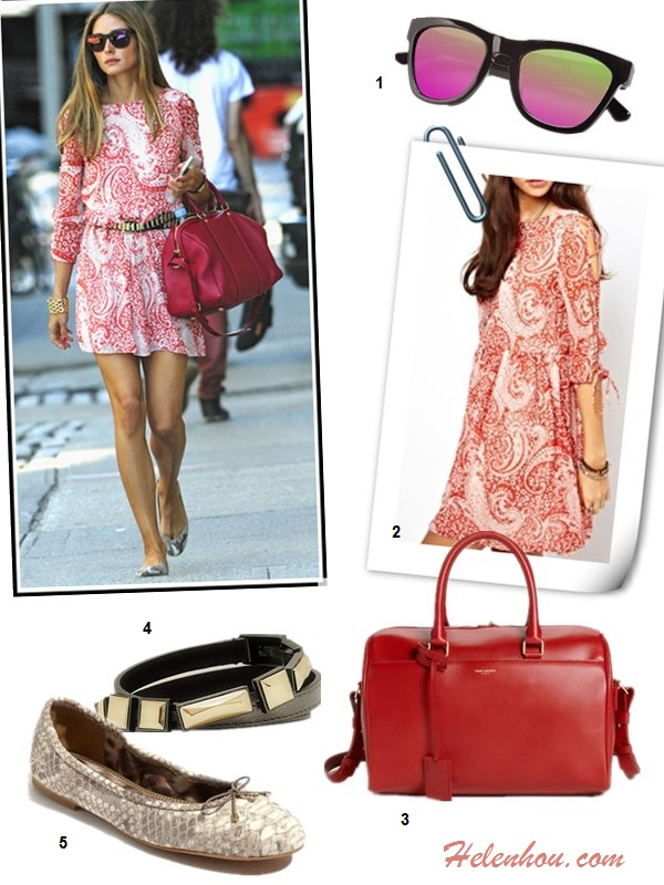 how to wear prints; Summer to Fall Transition outfit ideas, Olivia Palermo, spring/summer, street style, print blouse, white skirt, ballet flat, print dress, red bag, embellished belt, mirrored sunglasses.  On Olivia Palermo: red paisley print ASOS skater dress, black leather studded H&M belt,Louis Vuitton red bag, snakeskin Pretty Ballerina flats, gold cuff, Westward Leaning 'Color Revolution' mirror sunglasses,  Alternatives: Westward Leaning color Revolutions Acetate Square Sunglasses,  ASOS Skater Dress In Paisley Print With Lace Up Sleeve,  Saint Laurent red satchel,  Reiss Aurelia STONE ENCRUSTED embellished BELT,  Sam Edelman Felicia snakeskin Ballet Flats