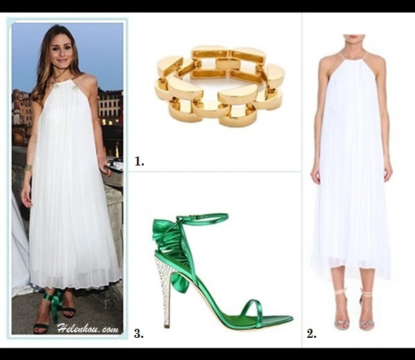 What to Wear on a beach vacation; how to wear a maxi dress, how to wear a white dress; beach outfit ideas 2013; spring/summer, street style;   On Olivia Palermo: Tibi white pleated maxi Dress, green ankle strap heel sandal, white tunic with blue floral print, beach cover-up, straw bag, flip flop, oversized sunglasses.  Featured: Bop Bijoux Smooth gold Link Bracelet,  Tibi pleated Silk Chiffon Dress,  DSQUARED2 green Sandal Rouches with glitter heel,