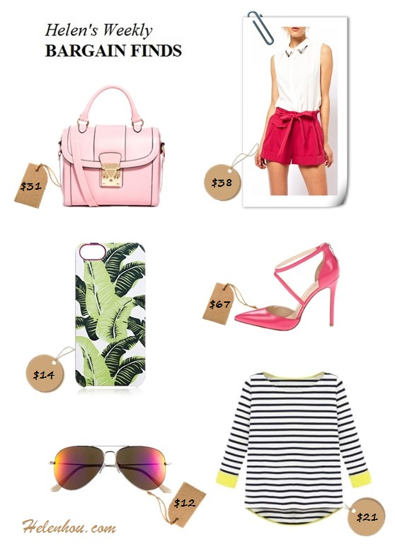 Featured:  ASOS Bag With Chunky Lock And Tophandle,  ASOS Belted Shorts with Turn Up,  Nine West ankle strap pump,  She InsideBlack Long Sleeve Striped Dipped Hem,  BP. 'Flash' Aviator Sunglasses,  Juicy Couture Palm Leaf iPhone 5 Case