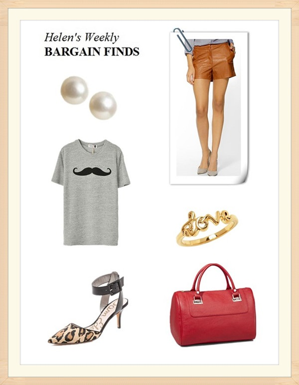 Featured: Banana RepublicGenuine freshwater pearl earring,  Tinley Road Vegan Leather Short - Camel,  Rebecca Minkoff Ring in Gold , Express Womens Hinged Plate Satchel Red , Sam Edelman Okala Ankle Strap Pumps, Oasap mustache print short sleeve t shirt