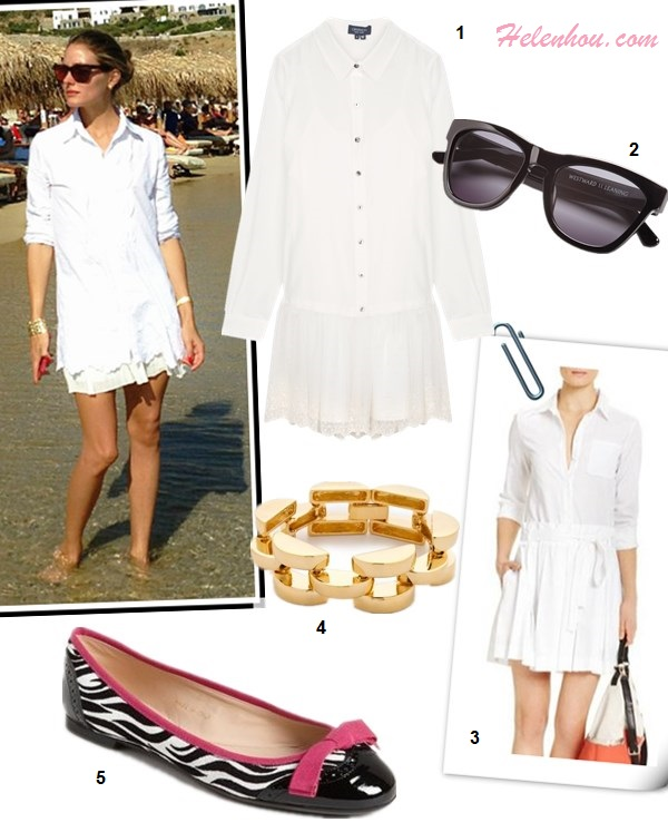What to Wear on a beach vacation; how to wear print dress or skirt, how to wear white, beach outfit ideas 2013; spring/summer, street style;   On Olivia Palermo: white shirt, white mini skirt, gold bracelet, Westward Leaning sunglasses, blue floral print dress, pink ballet flat, straw tote;  Featured:   Gryphon Victoria white shirt Dress,  Westward Leaning Sunglasses,   Diane von Furstenberg Montana stretch-cotton shirt dress ,  Bop Bijoux smooth link bracelet,  Sweet Ballerina zebra print ballet flat