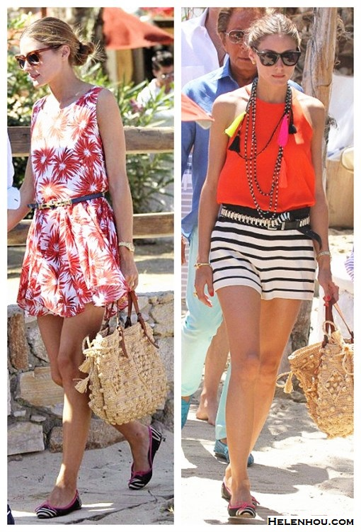 What to Wear on Vacation; how to wear prints, stripes and bold colors; Olivia Palermo, spring/summer, street style,  floral print dress, striped shorts,red top, ballet flats, straw tote,   On Olivia Palermo: floral print dress, Mar Y Sol straw bag, Pretty Ballerinas printed mesh ballet flat;  On Olivia Palermo: TIBI Striped knitted-cotton shorts,  Mar Y Sol straw bag, Tibi Cami Silk Halter, Westward Leaning sunglasses, Pretty Ballerinas printed mesh ballet flat;