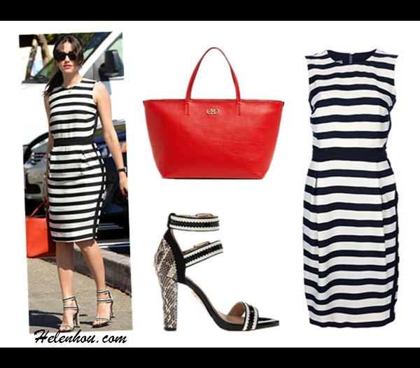 How to wear a striped dress, Jamie Chung,Emmy Rossum, red carpet look, street style,spring/summer, black and white, ankle strap pump, Pour La Victoire strappy sandal,Longchamp red bag,  On Emmy Rossum: By Malene Birger Lullian black and white striped sleeveless dress, terra cotta Longchamp bag,   Veronica buckled zigzag sandals by Pour La Victoire, black watch  Featured: BY MALENE BIRGER 'Lullian' striped dress,  Salvatore Ferragamo 'Bice' Leather Tote,  Pour La Victoire Veronica buckled zigzag sandals