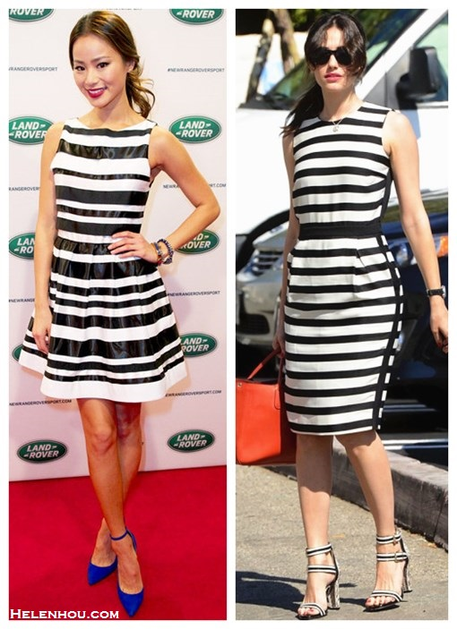 How to wear a striped dress, Jamie Chung,Emmy Rossum, red carpet look, street style,spring/summer, black and white, ankle strap pump, Pour La Victoire strappy sandal,Longchamp red bag,    On Jamie Chung:Alice + olivia Cookie Flare Dress, blue Monika Chiang heels, bracelet, On Emmy Rossum: By Malene Birger Lullian black and white striped sleeveless dress, terra cotta Longchamp bag,   Veronica buckled zigzag sandals by Pour La Victoire, black watch