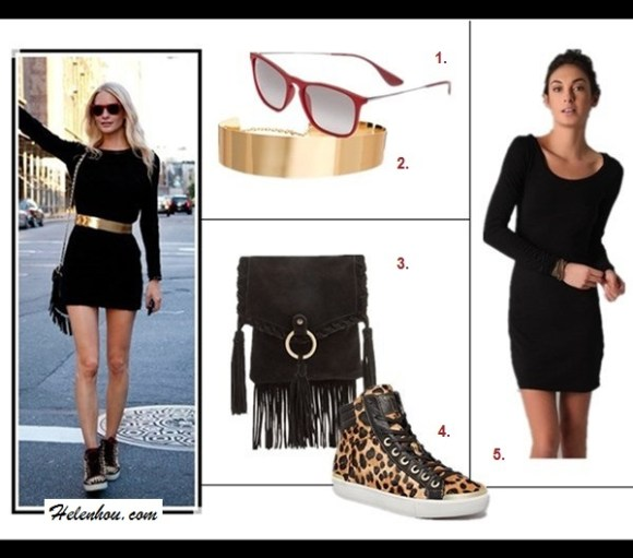 how to wear cut outs; how to style a black dress;  fashion week, street style, black dress, gold belt, tassle bag, leopard sneaker;  Rosie Huntington-Whiteley,VERSUS Black Cut Out Dress,Saint Laurent gold embellished Janis Sandal,  Spot on fashion week street style: black long sleeve dress, gold waist belt, red sunglasses, tassel crossbody bag, leopard sneaker;  Featured:  1. Ray-Ban 'Youngster' Square Keyhole 54mm Sunglasses,  2. ASOS Full Metal Waist Belt,  3. Mango Tasseled suede mini bag,  4. Ted Baker Lace Up High Top Sneakers,  5. Splendid Long Sleeve Mini Dress