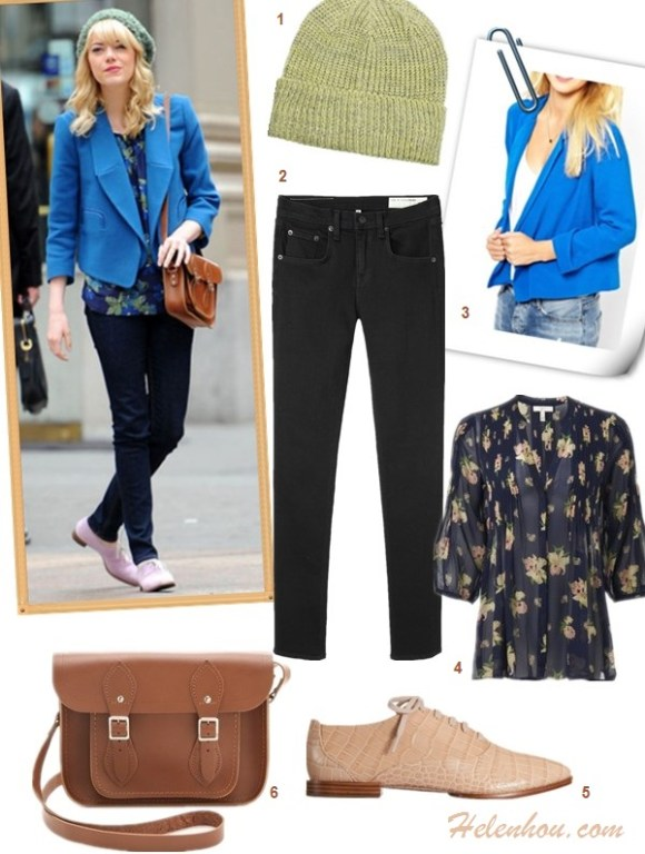 how to wear blue blazer, how to wear a beanie, how to wear printed jeans,  Emma Stone, Jessia Alba, street style, fall/winter, blue blazer, mirror sunglasses, printed jeans, strappy sandal, black crossbody bag, beanie, floral top, black jeans, nude oxford, brown Cambridge Satchel  On Emma Stone: blue CHLOÉ Wool-crepe blazer, Rag & Bone The Skinny black jeans, Cambridge Satchel Company 15? Classic Leather Satchel, nede oxford, beanie,  Featured:   1. ASOS Rib Boyfriend Beanie, 2. Rag & Bone/JEANHigh Rise Skinny Jeans, 3. Aryn K Tuxedo Blazer, 4. Joie Devitri floral Top, 5. Alexander Wang  Ingrid oxford, 6. Cambridge Satchel Classic Satchel,