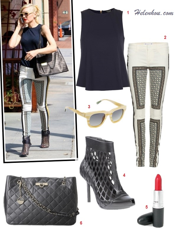 how to wear printed pants; how to wear silk pants/pajama   pants;  Gwen Stefani,Miranda Kerr, street style, fall/winter,    On Gwen Stefani: Paige VERDUGO PRINT JEANS,  L.A.M.B.bag,   Givenchy ankle booties, Triwa Henry ivory sunglasses, red   lip, navy jersey top;  Featured:   1. Topshop textured shell (love this silk one) 2. Paige Verdugo printed jeans (also adore this pair) 3. Triwa Henry square sunglasses (also here) 4. Melissa + Jean Paul Gaultier ankle boots 5. M·A·C lipstick 6. DKNY quilted shopper