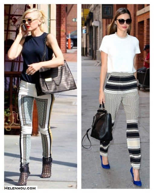 how to wear printed pants; how to wear silk pants/pajama   pants;  Gwen Stefani,Miranda Kerr, street style, fall/winter, 	  Paige print jeans, Givenchy booties, colored   sunglasses,L.A.M.B.bag,  Ellery Bobcats stripe pants, Phillip Lim 'ryder' Satchel,   Manolo Blahnik blue pump,  On Miranda Kerr: MCS Elena bracelet, Alexander Wang   sunglasses, Stella McCartney Embellished Cotton Blend   Jersey Top, Manolo Blahnik blue bb suede pump, 3.1   Phillip Lim 'ryder' Satchel, Ellery Bobcats Classic   Cigarette printed pants,      On Gwen Stefani: Paige VERDUGO PRINT JEANS,  L.A.M.B.bag,   Givenchy ankle booties, Triwa Henry ivory sunglasses, red   lip, navy jersey top;