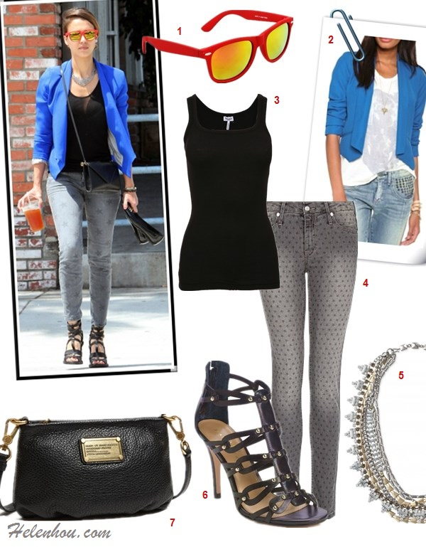 how to wear blue blazer, how to wear a beanie, how to wear printed jeans,  Emma Stone, Jessia Alba, street style, fall/winter, blue blazer, mirror sunglasses, printed jeans, strappy sandal, black crossbody bag, beanie, floral top, black jeans, nude oxford, brown Cambridge Satchel  On jessica Alba:Evelyn blue Blazer by Kate Frances, Current Elliott Stiletto star print skinny jeans,Cobra Society bag, red mirror sunglasses, black strappy sandal;  Featured:   1. SWG - N350R - Red/Rainbow Mirror, 2. BB Dakota Carrie Crepe Blazer, 3. Splendid1x1 Tank Top, 4 Mango® Star Print Jeans, 5. stella & dotSutton Necklace, 6. Ivanka Trump ankle strap Sandal, 7. Marc by Marc JacobsClassic Q Percy Bag,
