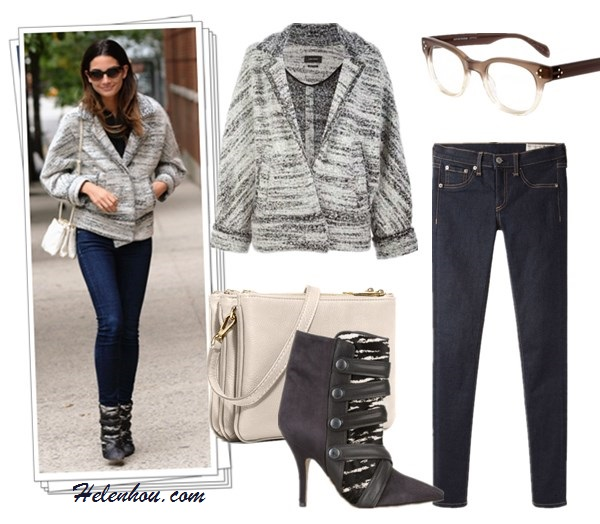 how to wear a cocoon coat, how to wear an oversized jacket,  Miranda Kerr, Lily Aldridge, street style, fashion week,Stella mccartney,  Isabel Marant, wool jacket, skinny jeans, ballet flat, balmain, grey bag, crossbody bag, ankle booties,   On Lily Aldridge:Celine crossbody bag, Oliver Peoples Afton Round Stud-Temple Sunglasses, Cocobolo,Isabel Marant Ioline Boiled Wool Jacket in Grey,rag & bone/JEAN Dark High Rise Skinny Jeans in Heritage Wash,Isabel Marant Tacy suede, printed calf hair and leather boots.  Also Featured:   MICHAEL Michael Kors 'Bedford' Crossbody Bag Vanilla