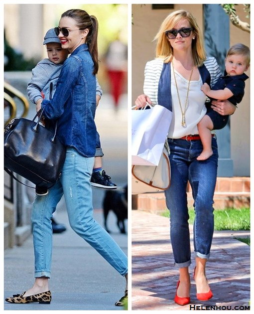 how to wear boyfriend jeans, Celebrity Mom Style,denim on denim,  Miranda Kerr, denim shirt, distressed boyfriend jeans, leopard loafer, Givenchy Antigona, aviator sunglasses, Reese Witherspoon, striped jacket, red pump, red belt, chic diaper bag,  On Reese Witherspoon: By Malene Birger striped jacket,   Celine colorblock sunglasses, Danzo Baby Weekender Diaper   Bag, GoldSign boyfriend crop jeans, By Malene Birger Red   Atenera Suede Court Shoes, gold long necklace, red skinny   belt.  On Mirand Kerr: Givenchy Antigona Satchel Bag,Prada leopard loafer, Burberry denim shirt, Frame Denim distressed boyfriend jeans, Oliver Peoples aviator sunglasses
